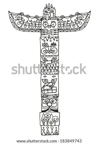 Totem pole with animals illustration - stock photo