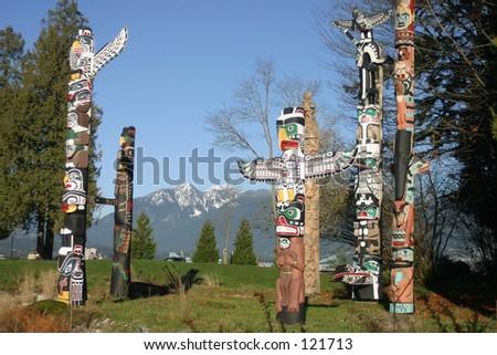 Totem's Poles in Stanley Park - stock photo