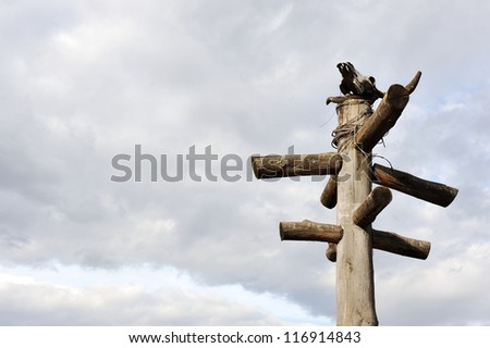 Totem with scull - stock photo