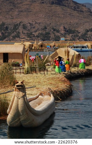 Totora Boat and Uros - stock photo