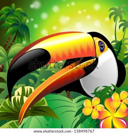 Toucan Close Up Art Design on Tropical Jungle - stock photo