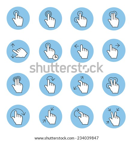 Touch gestures icons  set isolated thin line - stock photo