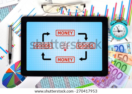 touch pad with goods and money scheme on workplace - stock photo