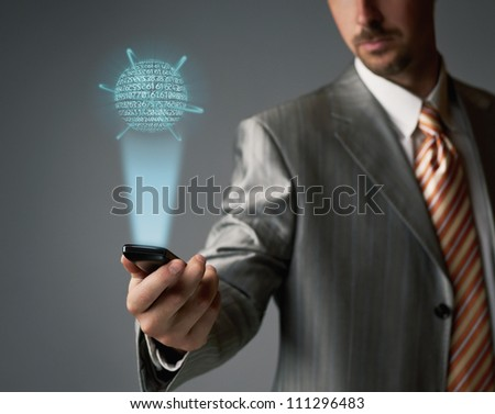 Touch screen cell phone - stock photo