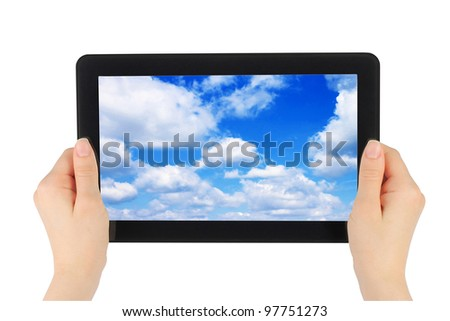 Touch screen device with blue sky in woman hands on white background - stock photo