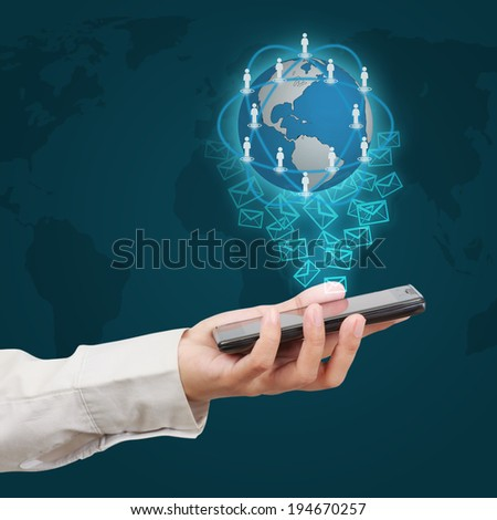 Touch screen mobile phone. Concept of business communication. - stock photo
