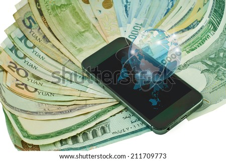 Touch screen mobile phone, Design concept of technology information and e-commerce - stock photo