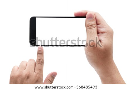 Touch screen mobile phone, in hand with blank screen. Isolated on white. - stock photo