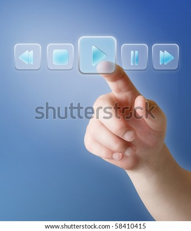 touch screen push button in music player - stock photo