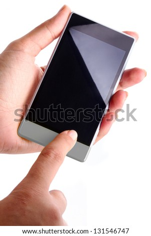 Touch screen smart phone with blank display in hand over white - stock photo