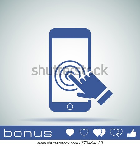 Touch screen smartphone icon - stock photo