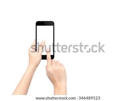 Touch screen smartphone in hand. Isolated on white background. - stock photo
