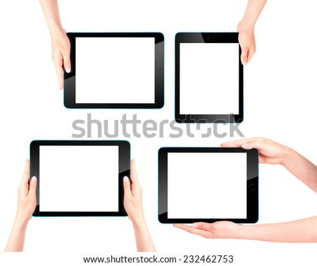 Touch screen tablet computer with blank screen and woman hand isolated - stock photo