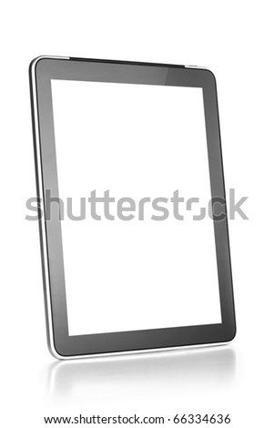 Touch screen tablet computer with blank screen Isolated on white - stock photo