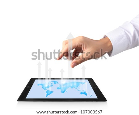 touch screen tablet with a graph - stock photo