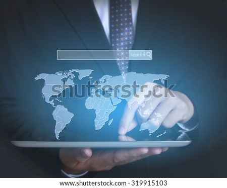 touch screen ,touch- tablet in hands  - stock photo