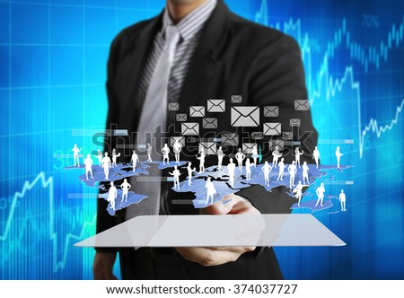 touch screen, touch- tablet in hands  - stock photo