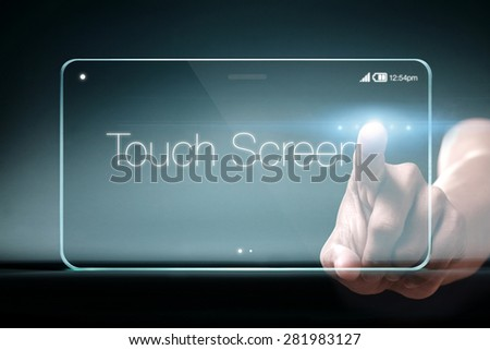 Touch screen wording on transparent smartphone. A touchscreen is an input device normally layered on the top of an electronic visual display of a information processing system.  - stock photo
