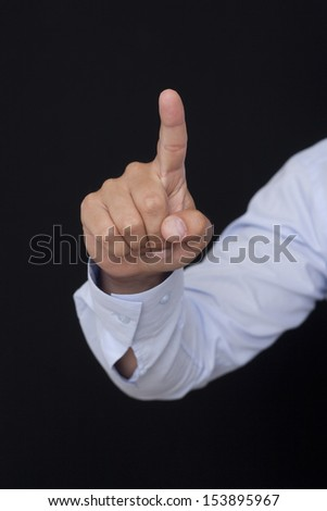 touch the Glass with the finger - stock photo