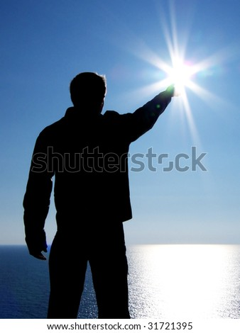 Touch to sun. Element of design. - stock photo