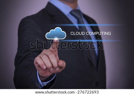 Touching Cloud Computing Concept  - stock photo
