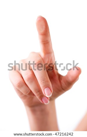 Touching the glass with finger. - stock photo