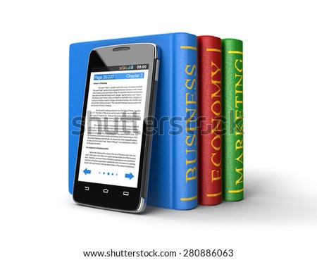 Touchscreen smartphone and Business Books (clipping path included) - stock photo