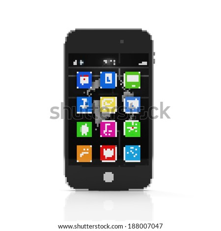 Touchscreen Smartphone in Pixel Style isolated on white background - stock photo