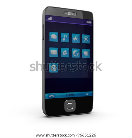Touchscreen smartphone with application icons - stock photo