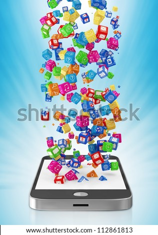 Touchscreen Smartphone with Application Icons on blue background - stock photo