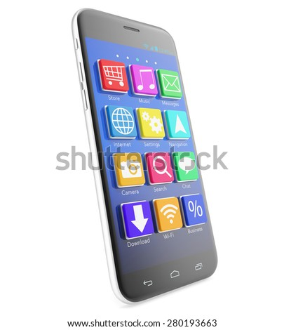 Touchscreen smartphone with applications as icons extruded from the screen, isolated on a white background. 3d illustration High resolution - stock photo
