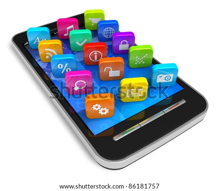 Touchscreen smartphone with color application icons isolated on white background - stock photo