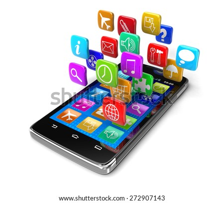 Touchscreen smartphone with pictograms (clipping path included) - stock photo