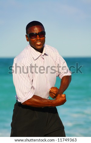 Tough businessman - stock photo