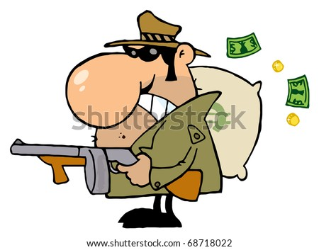 Tough Mobster Holding A Machine Gun And Money Sack - stock photo