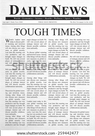 Tough times headline - stock photo