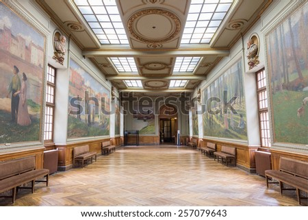 TOULOUSE, FRANCE - JULY 21, 2014: Salle Henri Martin in the Capitole de Toulose is decorated with ten giant canvases by Henri Martin. Henri-Jean Guillaume Martin was a renowned French impressionist painter. - stock photo