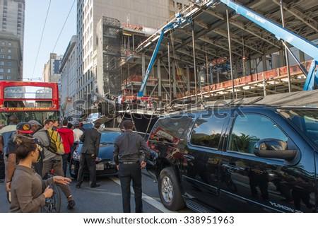 Tour bus got accident, rammed a car alongside San Francisco's Union Square on November 13 2015, San Francisco USA - stock photo