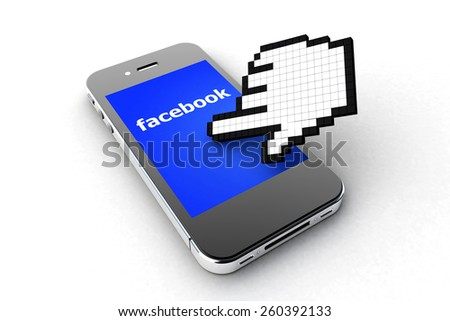 Tourin, Italy - March 14, 2015: Black Smart Phone with Facebook Social Network Screen on the white Table. - stock photo