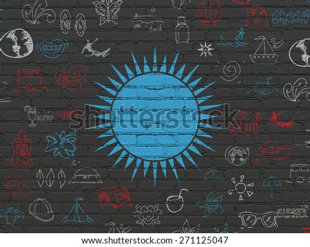 Tourism concept: Painted blue Sun icon on Black Brick wall background with  Hand Drawn Vacation Icons, 3d render - stock photo