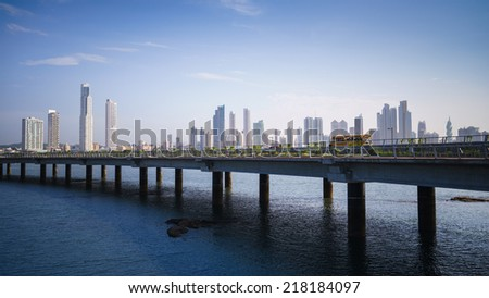 Tourist attractions and destination scenics. Panoramic view of Panama City skyline and highway - stock photo