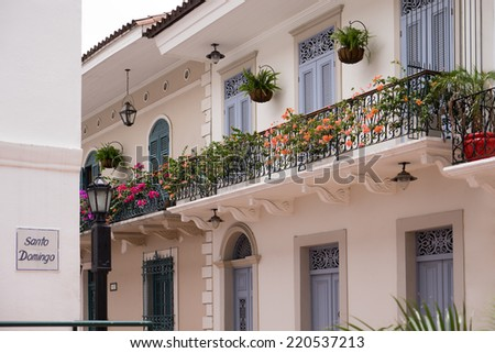 Tourist attractions and destination scenics. View of pictouresque street of Casco Antiguo, Panama City - stock photo