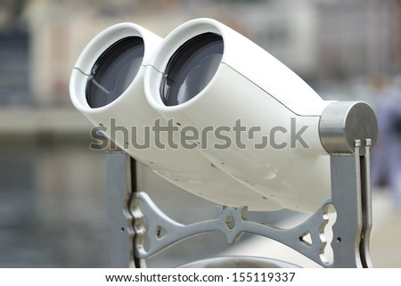 Tourist binoculars next to the sea in Trieste - stock photo