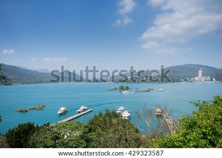 Tourist boat at Sun Moon Lake, Taiwan. - stock photo