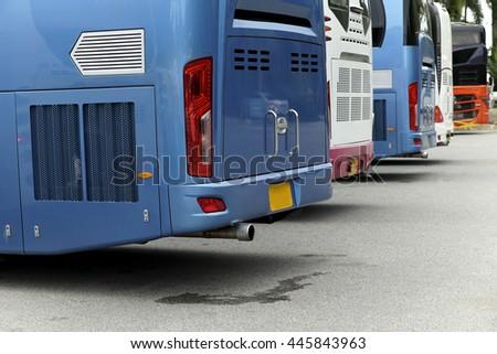 Tourist buses parking - stock photo