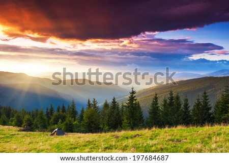 Tourist camp in a mountains. Carpathian, Ukraine, Europe. Beauty world. - stock photo