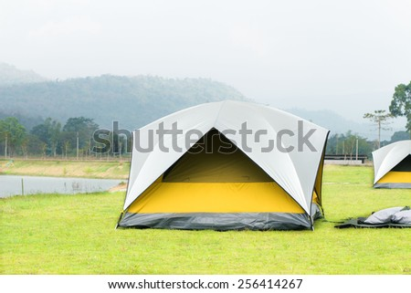Tourist camping tent in the mountain of Thailand - stock photo
