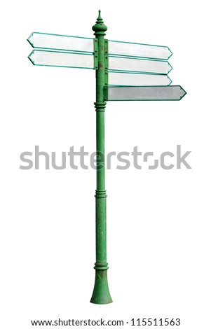 tourist guidepost blank isolated - stock photo