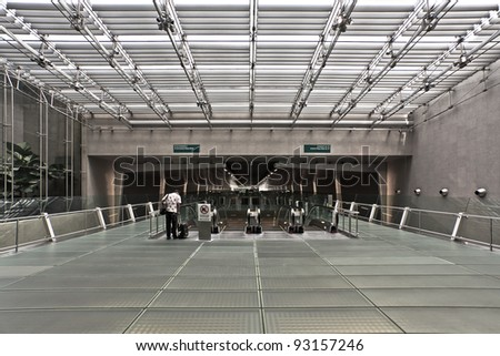 tourist i in airport and passenger - stock photo