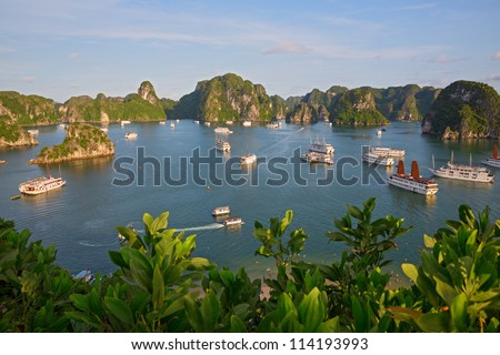 Tourist Junks in Halong Bay from titop island, Vietnam - stock photo